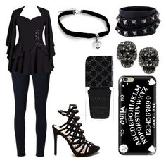 """""""school 5"""" by dawnfallen on Polyvore featuring Frame Denim, Casetify, Valentino, Betsey Johnson and Gucci"""