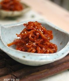 Dried squid for Ban Chan (Korean Side dish) Korean Side Dishes, Vegan Party Food, Baking Items, Vegetable Seasoning, Korean Food, Macaroni And Cheese, Chili, Bakery, Food And Drink