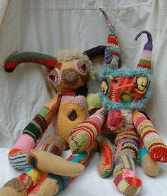 -REcyCLed Sweaters Great idea to give your old sweaters a celebratory end. Recycled sweater creatures by Kat O'Sullivan See it Fabric Art, Fabric Crafts, Sewing Crafts, Sewing Projects, Softies, Monster Dolls, Alter Pullover, Recycled Sweaters, Old Sweater
