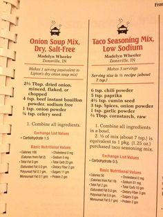 make taco seasoning Homemade mixes copycat low sodium Lipton onion and taco seasonings Homemade mixes copycat low sodium Lipton onion and taco seasonings Homemade Dry Mixes, Homemade Spices, Homemade Seasonings, Low Salt Recipes, Low Sodium Recipes, Cooking Recipes, Diet Recipes, Kidney Recipes, Onion Recipes