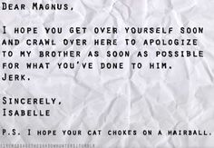 Imaginary letter from Isabelle to Magnus after CoLS