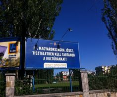 """Billboards warning #migrants to obey Hungarian laws, and discouraging them from accepting #jobs 'for Hungarians' have been popping up across the country, as part of a new government initiative. A blaring threat to dignity, these billboards state that people from other countries should be careful not to """"steal"""" jobs from natives. Read more about xenophobia in Hungary at http://one-europe.info/xenophobia-on-the-rise-in-hungary"""