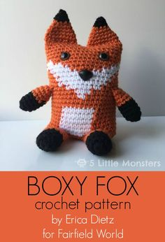 Link to a free crocheted boxy fox pattern. Boxy Fox is an amigurumi fox that is made with a rectangular bottom which gives it the boxy shape.