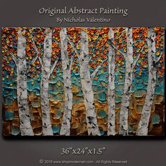 Large 36x 24x1.5  Original Birch Tree Painting by ShopModernArt