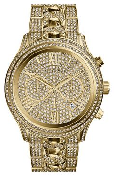 Michael Kors 'Lindley' Pavé Chronograph Bracelet Watch, 48mm