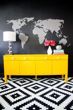Furniture Trends to Try Loving when old furniture gets an updated with a bold coat of paint! home home sweet home World Map Mural, Sweet Home, Diy Painting, Painting Doors, Painting Walls, Interior Painting, Decoration, Painted Furniture, Dark Furniture