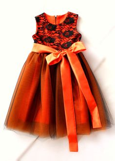 Orange Satin and Black Lace Tutu Pumpkin by LudasBoxOfTreasures