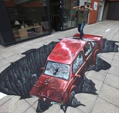 3D street art painted for Auto Glass in London's Trafalger Square by Joe and Max.
