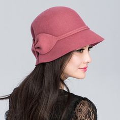 Warm bow cloche hat for women winter bowler wool hats
