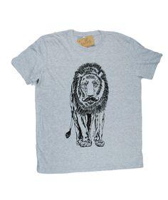 Mens TShirt  Mustache Lion TShirt  Animal TShirt by HeapsHandworks