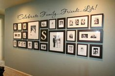 Living room wall decor frames home decor black frame family wall gallery black white wall art Photowall Ideas, Display Family Photos, Family Pics, Family Photo Walls, Display Pictures, Arrange Pictures, Family Tree Wall, Family Collage, Displaying Photos On Wall