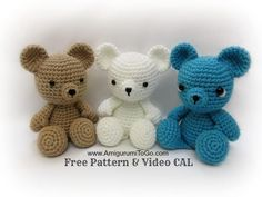 Learn how to make these adorable crocheted mini teddy bears with this great video tutorial. Includes FREE written crochet pattern.
