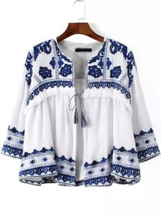 SheIn offers Blue White Knotted Embroidered Crop Outerwear & more to fit your fashionable needs. Folk Fashion, Trendy Fashion, Womens Fashion, Ethnic Fashion, Street Fashion, Fashion Site, Fashion News, Shirt Embroidery, Embroidery Fashion