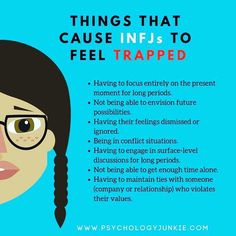 INFJs feel trapped when they can't think about the future, when they are confined to this moment. These types like to imagine and explore potential and possibilities, they like to anticipate and predict. Infj Mbti, Intj And Infj, Infj Traits, Esfj, Infj Personality, Myers Briggs Personality Types, Myers Briggs Infj, Advocate Personality Type, Myer Briggs