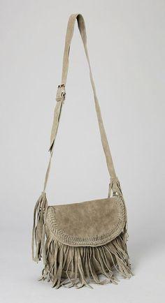Gray Fringe Suede Crossbody Bag