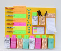This easy DIY weekly menu board is the perfect combination of a weekly meal planner and menu board! Easy Crafts, Diy And Crafts, Easy Diy, Weekly Menu Boards, Menu Planners, Weekly Planner, School Supplies, Organization, How To Plan