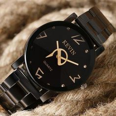 Mens Watches Top Brand KEVIN Luxury Black Stainless Steel Clock Women's Casual Sport Dress Quartz Wrist Watch Relogio Masculino From Touchy Style Outfit Accessories ( Two Circles Dial ) Cheap Watches For Men, Cool Watches, Teenager Fashion Trends, Casual Outfits For Teens, Fossil Watches, Women's Watches, Black Watches, Cheap Michael Kors, Sport Casual