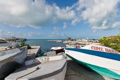 Boats at Cockburn Harbour, South Caicos, Turks and Caicos Islands.