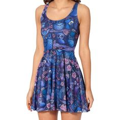 Owls and Florals All Over Print Sleeveless Skater Dress in Blue – DOTOLY