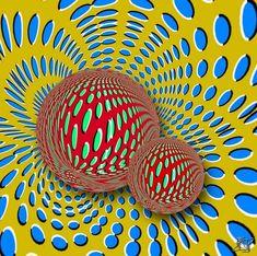 Desi imaginea de mai jos nu este una animata si toate obiectele stau pe loc, se produce iluzia ca totul s-ar misca. Acest lucru se datoreaza modului in care sunt colorate bilele in comparatie cu restul fundalului.