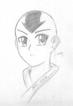 Okay, here's my first attempt at drawing Aang. An attempt at Aang Anime Boy Sketch, Anime Drawings Sketches, Cool Art Drawings, Pencil Art Drawings, Disney Drawings, Easy Drawings, Naruto Drawings Easy, Batman Drawing, Drawing Superheroes
