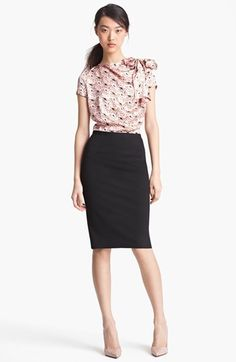 Nina Ricci Floral Print & Jersey Dress available at #Nordstrom