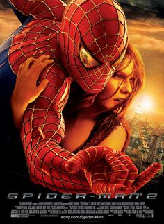 Spider-Man 2 - Stan Lee's all-too-human superhero returns to the screen in this highly anticipated sequel to blockbuster hit Spider-Man. Spider-Man 2 was directed by Sam Raimi, who helmed the first film, and much of the original cast has also Spider Man 2, House Spider, 2 Movie, Love Movie, Movie Theater, Theatre, Best Superhero Movies, Films Marvel, Movie Posters