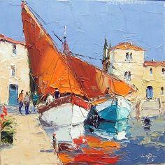 Erich Paulsen, 'Opening the Sails' original oil painting Boat Painting, Oil Painting Abstract, Abstract Art, Knife Painting, Landscape Art, Landscape Paintings, Landscapes, Pintura Exterior, Boat Art