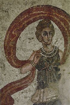 Lady with veil,mosaic from the Villa del Casale, Piazza Armerina,Sicily,Italy.3rd-4th.   Villa Romana del Casale, Piazza Armerina, Italy