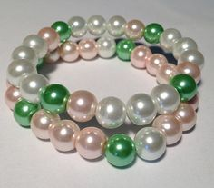 Pink and green pearl bracelets