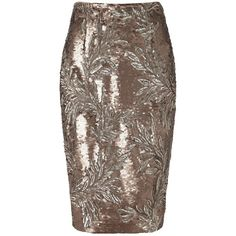 Phase Eight Nasia Sequin Skirt, Bronze ($100) ❤ liked on Polyvore featuring skirts, phase eight, pencil skirt, knee length pencil skirt, sparkle skirts and bronze skirt