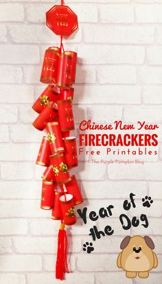 Free Printable Chinese New Year Firecrackers – Year of the Rat! Celebrate the Chinese New Year with this free printable Chinese Firecrackers set! They're fun to make and look awesome hung on the wall! Chinese New Year Crafts For Kids, Chinese New Year Decorations, Chinese Crafts, New Years Decorations, New Year Printables, Free Printables, Party Printables, New Year's Crafts, Diy Crafts