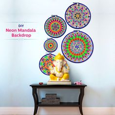 How amazing is this Neon Mandala Backdrop? The colours stand out beautifully and make for a stunning backdrop for any Ganesha idol.