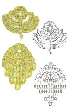 Remarkable Irish Crochet Leaves from this great Russian site.Buono per foglie!