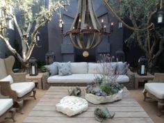 Hello outdoor dreaminess - is that sofa base made from stones - thinking could make some chairs and sofas out of Bermuda stone blocks and then just have cushions made to fit! No moving them once in place though! Upholstered Desk Chair, Colorful Outdoor Furniture, Restoration Hardware Outdoor, Restoration Hardware Outdoor Furniture, Outdoor Rooms, Home Decor, Blue Dining Room Chairs, Green Living, Metal Outdoor Chairs