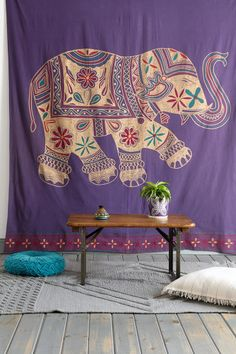 Want this for my yoga room. Magical Thinking Printed Elephant Tapestry. #urbanoutfitters