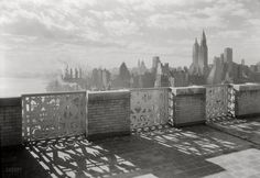 "New York. December 15, 1931. ""River House, 52nd Street and East River. Parapet, 27th floor, against light."" Our second view this week from River House. 5x7 safety negative by Samuel H. Gottscho."