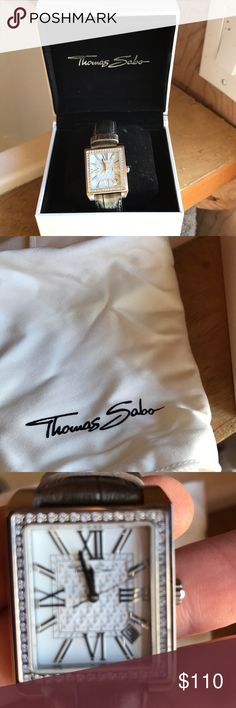 Thomas Sabo watch Like new in box with polishing cloth. Square face with crystal detail, Roman numeral face with second hand. Genuine leather, water resistant. Needs new battery. Thomas Sabo Accessories Watches