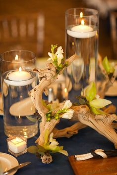 Driftwood and candles, beachy feel but looks country. Driftwood Wedding Centerpieces, Beach Wedding Decorations, Candle Centerpieces, Centerpiece Ideas, Silver Centerpiece, Simple Centerpieces, Vases, Rustic Candles, Floating Candles