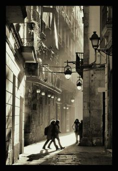 Old city in Barcelona Barcelona City, Barcelona Travel, Black N White Images, Black And White, Watercolor City, Watercolour Paintings, Living In Europe, Spain And Portugal, White Photography