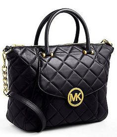 MICHAEL MICHAEL KORS Fulton Quilted Leather Satchel Bag Black