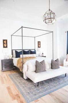Custom Pillow Ideas from Little Design Co Pillow Shop - custom pillows, master bedroom design, canopy bed, canopy bed master bedroom, best pillow ideas, Circa lighting, circa lighting master bedroom, caged pendant lighting