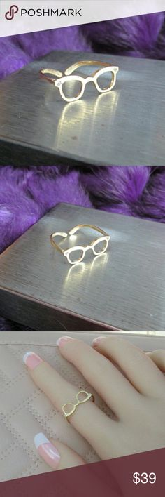 """""""4 Eyes"""" 14k gold ring Matte gold ring that looks like eye glasses. The glasses have tiny crystal accents at the corner of the frames. Super cute nerd jewelry for grown ups. Minimalistic style but an interesting piece.  14k yellow gold filled sterling silver with cubic zirconia. Ring is adjustable. Fits sizes 5-9.  DD 25.09.16 Citizen Republk  Jewelry Rings"""