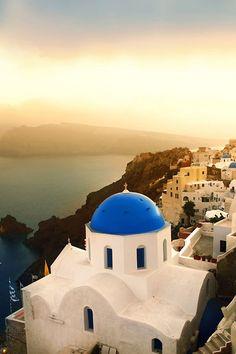 Blue Domes of Santorini, Greece