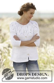 """Summer Leaves Cardigan - Knitted DROPS jacket with leaf pattern, ridges and round yoke, worked top down in """"Muskat"""". Size S-XXXL. - Free pattern by DROPS Design"""