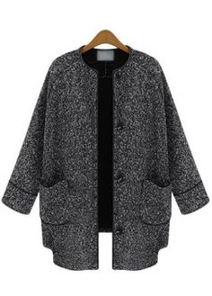 Laconic Button Closure Long Sleeve Coat with Pocket