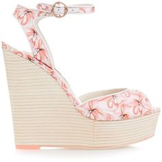 Sophia Webster Lula Dreamy Flamingo wedge sandals ($450) ❤ liked on Polyvore featuring shoes, sandals, pink multi, pink sandals, pink shoes, wedge sandals, wood wedges shoes and wooden sandals