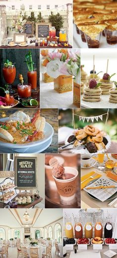 How to Host Brunch Wedding (or Brunch the Day-After): Reception Ideas, Menus, and delicious Inspiration Wedding Brunch Reception, Wedding Food Menu, Reception Food, Wedding Ideas, Trendy Wedding, Dream Wedding, Wedding Catering, Wedding Book, Wedding Inspiration
