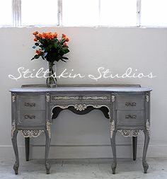 Stiltskin Studios: Weathered Grey French Desk // warm tones instead of gray for china cabinet French Furniture, Refurbished Furniture, Furniture Makeover, Vintage Furniture, Desk Makeover, Country Furniture, Chalk Paint Furniture, Furniture Projects, Furniture Decor
