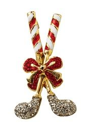 Crystal Candy Cane Crossed Clubs Christmas Pin - Set of 2 - Share some holiday cheer!